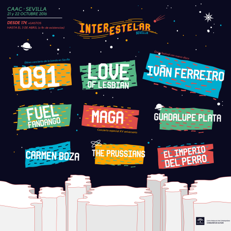 cartel interstelar sevilla con la última confirmación de Love of Lesbian
